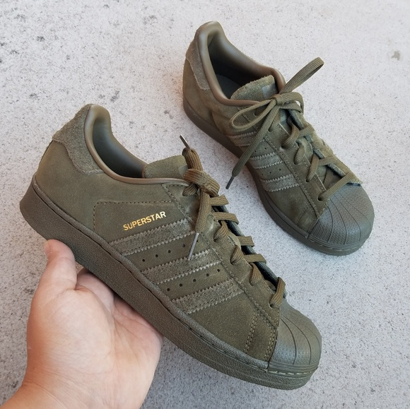 sports shoes 3b35f 03865 Adidas Superstar Olive Suade Leather Sneaker S3